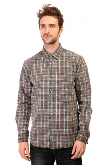 Рубашка в клетку Quiksilver Prelock Ls Wvtp Prelock Anthracite, 1140684,  Quiksilver, цвет серый