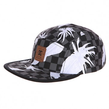 Бейсболка пятипанелька DC Supercamp Hats Leafy Check Black, 1120739,  DC Shoes, цвет белый, серый, черный