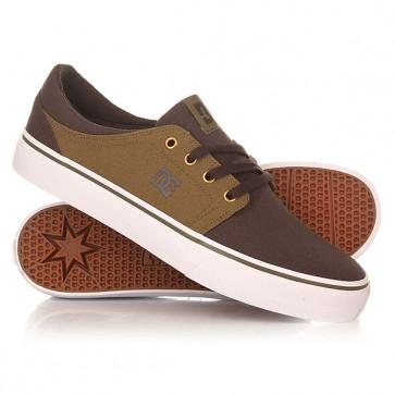 Кеды кроссовки низкие DC Trase Tx Military/Dark Choc, 1156152,  DC Shoes, цвет зеленый, серый