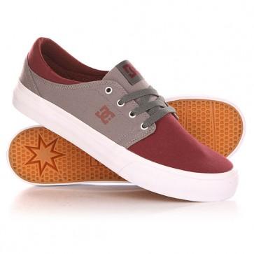 Кеды кроссовки низкие DC Trase Tx Shoe Oxblood/Lt Grey, 1142035,  DC Shoes, цвет бордовый, серый