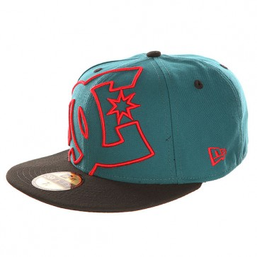Бейсболка с прямым козырьком DC Coverage Hats Deep Teal/Formula Re, 1142205,  DC Shoes, цвет зеленый, черный