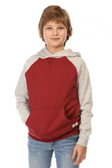 Толстовка кенгуру детская DC Rebel Rag By Otlr Syrah, 1142438,  DC Shoes, цвет красный, серый