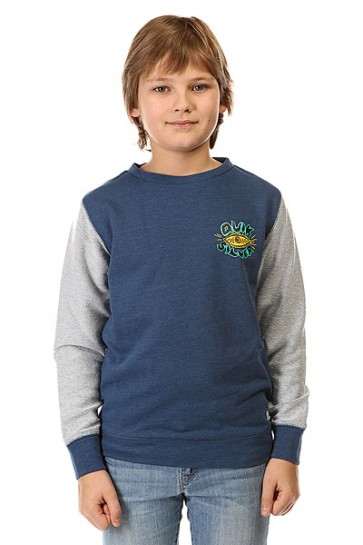 Толстовка классическая детская Quiksilver Visio Reversecry Otlr Dark Denim, 1142448,  Quiksilver, цвет серый, синий
