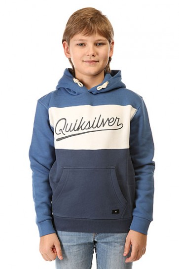 Толстовка кенгуру детская Quiksilver Dark Water Out Otlr Federal Blue, 1142449,  Quiksilver, цвет белый, синий