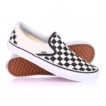 Слипоны Vans U Classic Slip-On Blk Whtchckerbo Black, 1101279,  Vans, цвет бежевый, черный