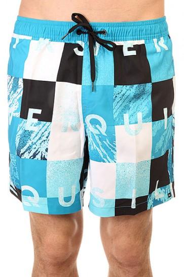 Шорты пляжные Quiksilver Check Remix Hawaiian, 1145678,  Quiksilver, цвет белый, голубой, черный