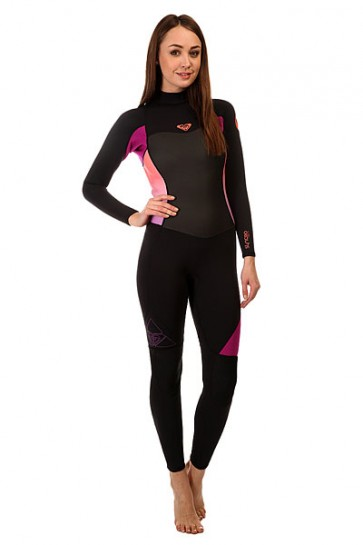 Гидрокостюм (Комбинезон) женский Roxy 3/2mm Syncbz J Black/Violet/Coral, 1142776,  Roxy, цвет розовый, фиолетовый, черный