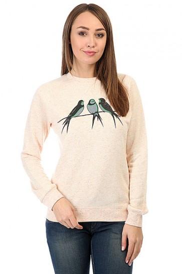 Толстовка свитшот женская Запорожец Ласточки Розово Бежевый Меланж, 1158679,  Запорожец, цвет бежевый, розовый