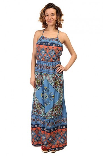 ПЛАТЬЕ ЖЕНСКОЕ SUMMER J WVDR BLA6 AGADIR BORDER COMBO, 1146075,  Roxy, цвет голубой, мультиколор