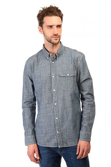 Рубашка DC Riot Van Ls Wvtp Indigo Chambray, 1143132,  DC Shoes, цвет синий