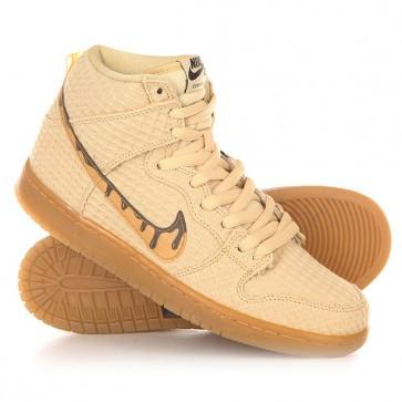 Кеды кроссовки высокие Nike SB Dunk High Premium Gold Star/Classic Brown, 1150758,  Nike, цвет бежевый