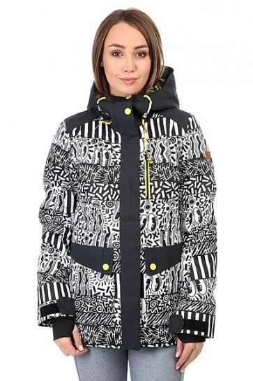 Куртка женская Roxy Andie Hattie Stewart Eyeca, 1159186,  Roxy, цвет белый, черный