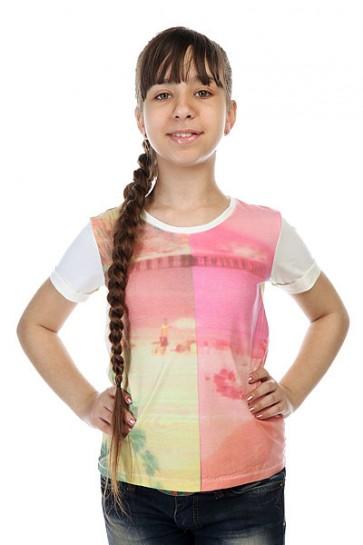 Футболка детская Roxy Rollydollyworld Tees Sand Piper, 1143510,  Roxy, цвет бежевый, мультиколор