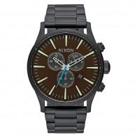 Кварцевые часы Nixon Sentry Chrono All Black/Brass/Brown