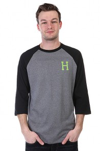 Лонгслив Huf Classic H Raglan Grey Heather/Lime