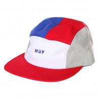 Бейсболка пятипанелька Huf Lo-down Volley Red/White/Blue