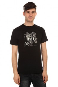 Футболка Huf Box Logo Fill Floral Tee Black