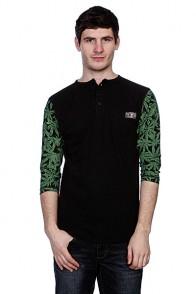 Лонгслив Fallen Durham Henley Black/Green Leaf