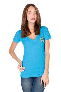 Футболка женская Santa Cruz Poppy Dot V-neck Tee Turquoise
