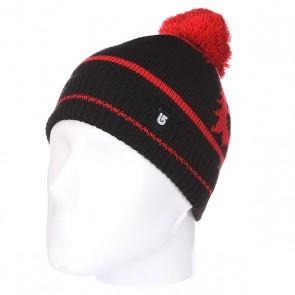 Шапка с помпоном детская Burton Mini Beanie True Black, 1113885,  Burton, цвет красный, черный