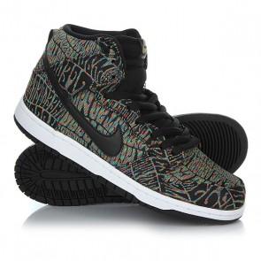 Кеды кроссовки высокие Nike Dunk High Premium SB Black/Black Rainbow White, 1157760,  Nike, цвет мультиколор