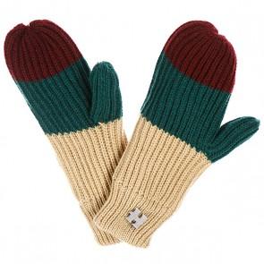 Варежки женские Harrison Beatrice Gloves Beige/Dark Green/Wine, 1077884,  Harrison, цвет бежевый, бордовый, зеленый