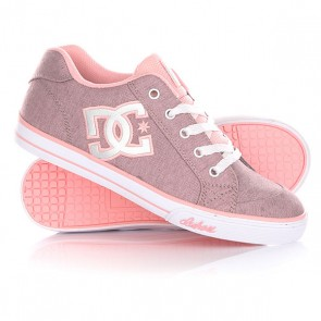 Кеды кроссовки низкие детские DC Chelsea Tx Se Pink With Silver, 1144729,  DC Shoes, цвет розовый, серый