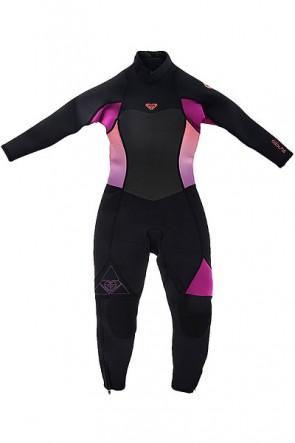 Гидрокостюм (Комбинезон) детский Roxy G 3/2mm Synls lbzfl Black/Violet/Coral, 1146313,  Roxy, цвет розовый, черный