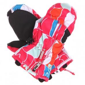 Варежки сноубордические детские Roxy Snows Up Mitt Penguin, 1129916,  Roxy, цвет белый, оранжевый, розовый, черный