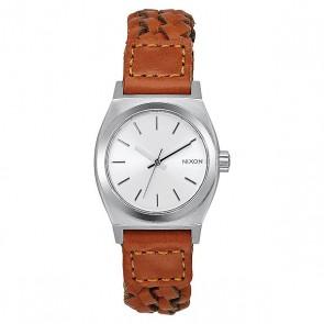 Кварцевые часы женские Nixon Small Time Teller Leather Saddle Woven, 1159621,  Nixon, цвет белый, коричневый