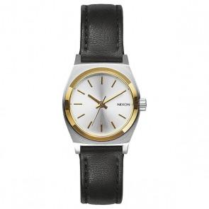 Кварцевые часы женские Nixon Small Time Teller Leather Silver/Gold/Black, 1159622,  Nixon, цвет белый, желтый, черный