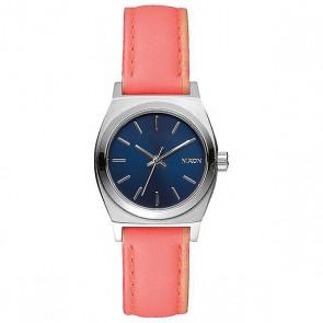 Кварцевые часы женские Nixon Small Time Teller Bright Coral, 1159619,  Nixon, цвет белый, розовый
