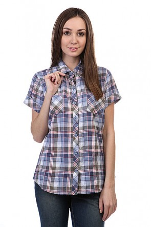 Рубашка в клетку женская Dickies Ss Plaid Shirt Rainstorm Olive Plaid, 1108826,  Dickies, цвет зеленый, синий