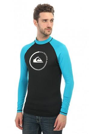 Гидрофутболка Quiksilver Lock Up Longs Black/Hawaiian Ocean, 1146499,  Quiksilver, цвет голубой, черный