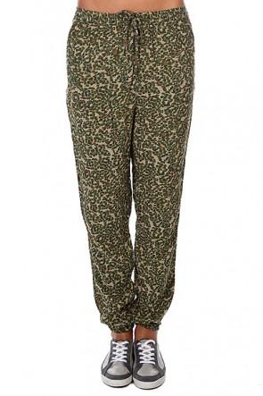 Штаны прямые женские Roxy Sunday Noon Bark Floral Camo Pat, 1121109,  Roxy, цвет зеленый, коричневый, серый