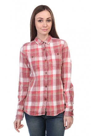 Рубашка в клетку женская Burton Wb Grace Ls Wvn Chili Pepr Lring Pld, 1109266,  Burton, цвет белый, розовый