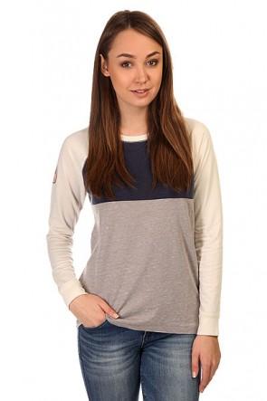 Лонгслив женский Roxy Bubbletoes Metro Heather, 1144831,  Roxy, цвет бежевый, серый, синий