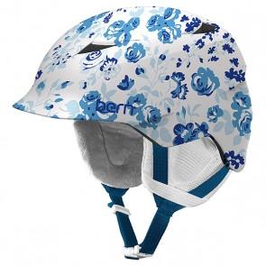 Шлем для сноуборда детский Bern Snow Zipmold Camina Satin White Floral/White Liner, 1145053,  Bern, цвет белый, голубой, синий