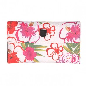 Кошелек женский Burton Wb Tri Fold Wallet Aloha Flower, 1119008,  Burton, цвет белый, зеленый, красный, розовый