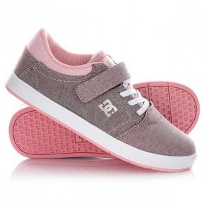 Кеды кроссовки низкие детские DC Crisis Ev Tx Se Smooth Pink/White, 1145081,  DC Shoes, цвет розовый, серый