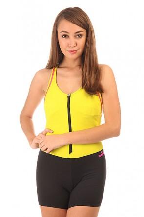 Комбинезон для фитнеса женский CajuBrasil Nz Ziper Yellow/Black, 1152142,  CajuBrasil, цвет желтый, черный