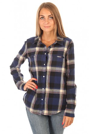 Рубашка в клетку женская Roxy Campay J Wvtp Moon Plaid Combo Blue, 1155135,  Roxy, цвет синий
