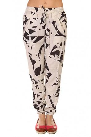 Штаны прямые женские Roxy Sunday Vintage Palm Line Bi, 1146080,  Roxy, цвет бежевый, черный