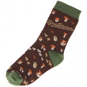 Носки средние детские Запорожец Грибочки Коричневый, 1143074,  Запорожец, цвет зеленый, коричневый