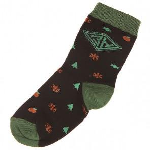 Носки средние детские Запорожец Ёлки И Снежинки Черный, 1143075,  Запорожец, цвет зеленый, коричневый