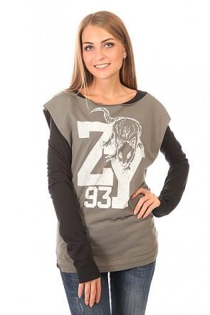 Лонгслив женский Zoo York Z Steel Real Black, 1150372,  Zoo York, цвет серый, черный