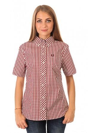 Рубашка в клетку женская Fred Perry Button Down Gingham Shirt Burgundy/White, 1150414,  Fred Perry, цвет белый, бордовый