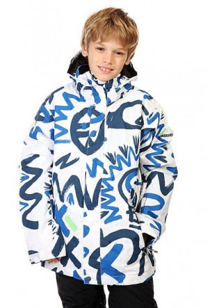 Куртка детская Quiksilver Mission Print Cave Rave White, 1128598,  Quiksilver, цвет белый, синий