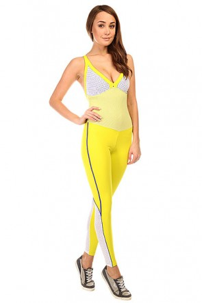 Комбинезон для фитнеса женский CajuBrasil New Zealand Overall Yellow/White, 1135369,  CajuBrasil, цвет белый, желтый