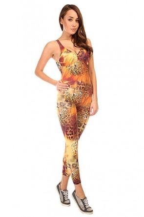 Комбинезон для фитнеса женский CajuBrasil Supplex Overall Multi/Leo/Brown, 1135372,  CajuBrasil, цвет мультиколор